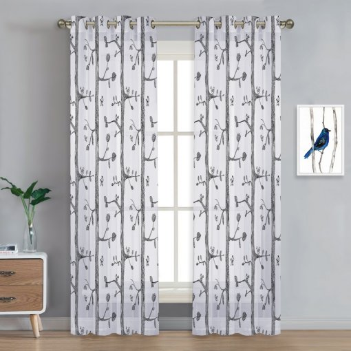 NICETOWN Birds Curtains Tree Pattern Drapes Printed Sheer Panels Set Airy and Lightweight Fabric Voiles for Kids Room/Nursery, 1 Panel = 52 Wide, 2 Panels