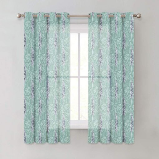 NICETOWN Leaf Voile Curtains - Watercolor Faux Linen Look Bedroom Panel Window Privacy Sheer Panels with Grommet Top, 52W Inches, 2 Panels