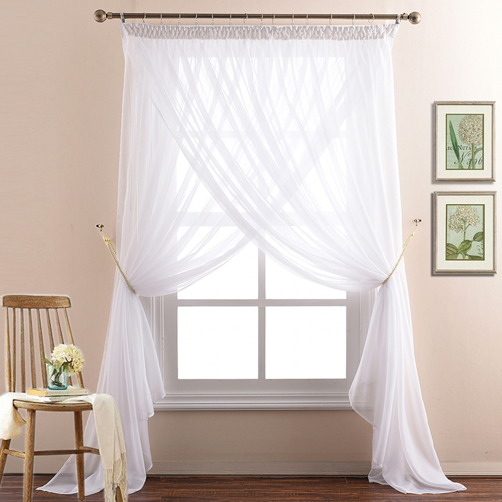Nicetown Double Layer Semitranspa Voile Curtain Window Treatment Pencil Pleat Wide Sheer D For Hall Villa With 2 Panels Drapery Tie