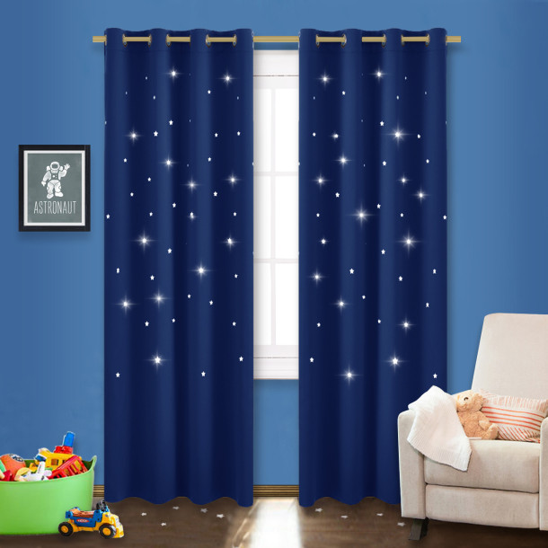 Custom Romantic Star Cutout Curtain Thermal Insulated Blackout Drape for Kids Bedroom by NICETOWN ( 1 Panel )