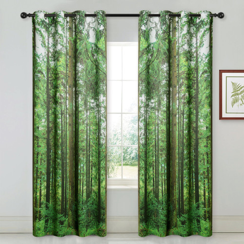 Forest Tree Landscape Curtain - Room Darkening Window Curtain with Jungle Wild Nature Flourishing Botanical Print Pattern for Kitchen/Backdrop/Living Room,Sold as 1 Panel