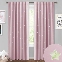 Sky Twinkle Star Hollow Out Curtain, Creative Blackout Window Drape,Sold as 1 Panel