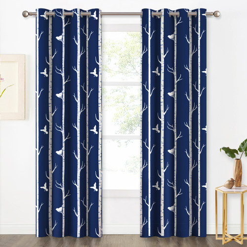 Energy Saving Forest Birds Botanical Pattern Printed Blackout Curtain (1 Panel)