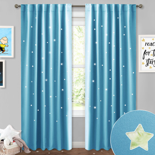 NICETOWN Sky Twinkle Star Pattern Blackout Curtain (1 Panel)