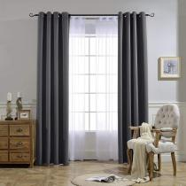 NICETOWN Solid Blackout Thermal Insulated Custom Curtain, Grommet,Grey,(1 Panel)