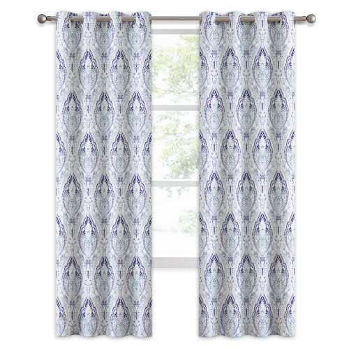 Home Decoration Printing Damask Pattern Curtain, Multicolor Print Medallion Window Curtain Draperies Set,Sold as 1 Panel