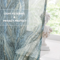 Faux Linen Print Sheer Curtain for Kitchen, Tree Stripe Pattern Voile Semi Trasparent Drapes,Sold as 1 Panel