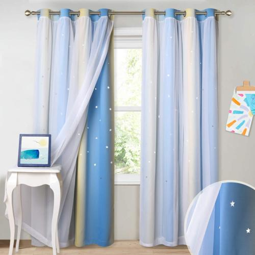 Nursery Decoration Window Drapes Hollow Out Twinkle Stars Pattern Mix Multi Gradient Curtain,Sold as 1 Panel