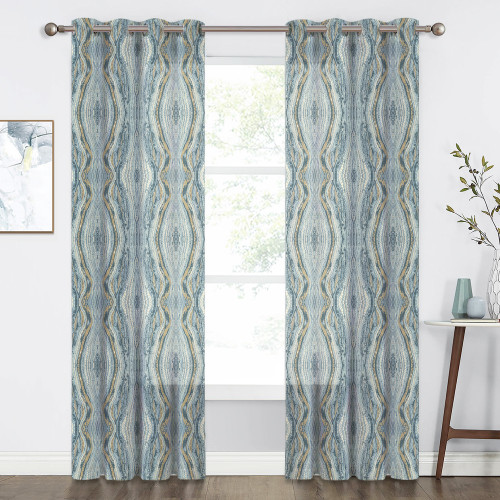 Tree Stripe Pattern Faux Linen Semi-sheer (1 Panel)