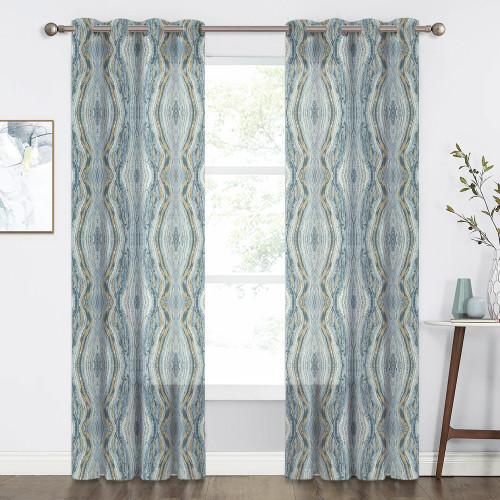 NICETOWN Tree Stripe Pattern Faux Linen Semi-sheer (1 Panel)