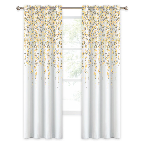 Room Darkening Window Curtain, Raining Flowers Curtain Panel Insulate Summer Heat for Farmhouse Foyer Garden Decor,Sold as 1 Panel