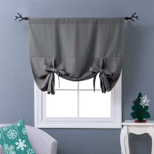Thermal Insulated Blackout Balloon Blind Curtain Tie Up Shade Valance for Small Window,Sold as 1 Panel