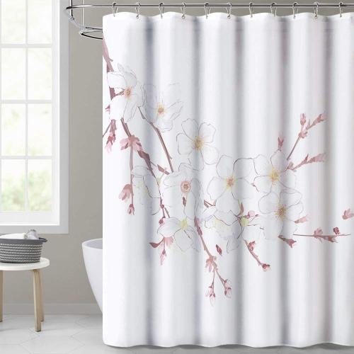 NICETOWN Custom Floral Pattern Printed White Shower Curtain