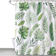 Banana leaf shower curtain, small fresh and simple series, waterproof and mildewproof, modern home essential shower curtain,Sold as 1 Panel