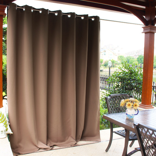 Extra Wide Blackout Waterproof Outdoor Curtain for Patio/Front Porch,Sold as 1 Panel