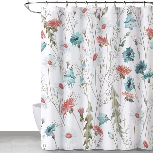 Country Flower and Leaves Style Floral Pattern Shower Curtain