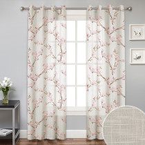 Custom Farmhouse Floral Botanical Sheer Linen Curtain for Window Drape Privacy with Light Filter for Bedroom / Living Room by NICETOWN ( 1 Panel )