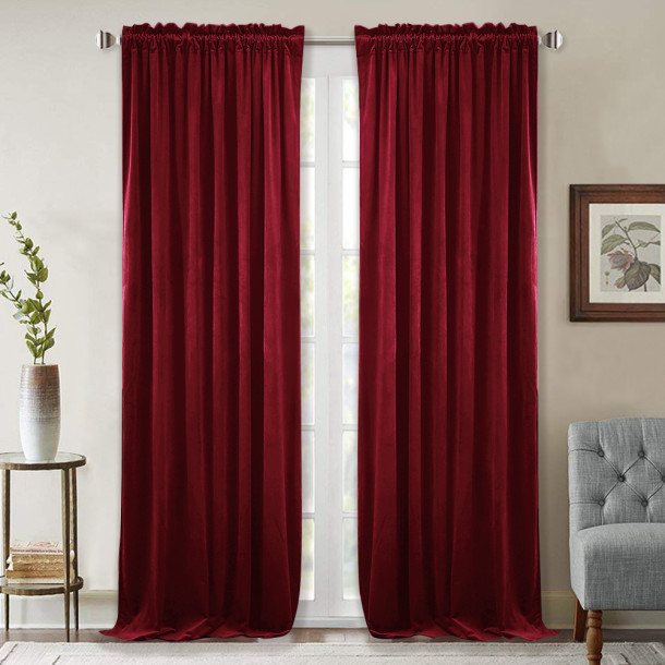 Solid Blackout Velvet Curtain Drapery (1 Panel)