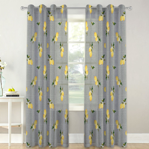 Custom Exotic Yellow Lemon Leaf Printed Semi Sheer Curtain for Living Room by NICETOWN ( 1 Panel )