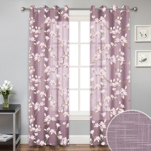 Farmhouse Floral Botanical Voile Sheer Curtain(1 Panel)