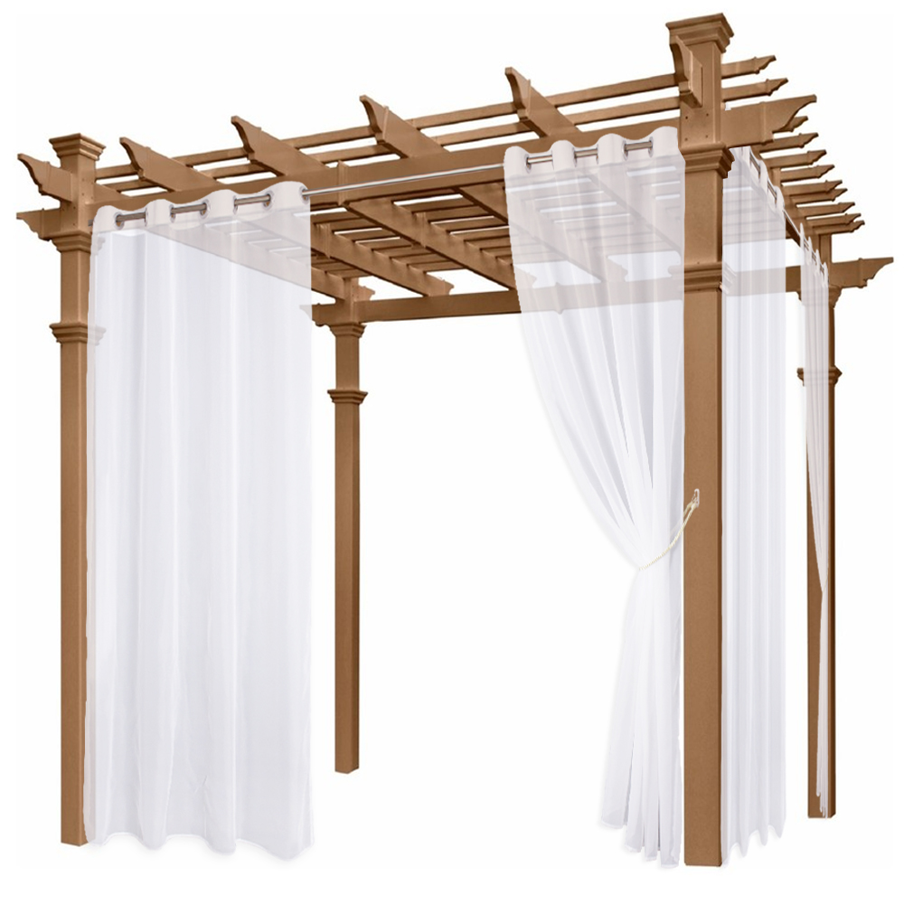 Sheer Outdoor Waterproof Curtain for Porch with Rope Tieback,Sold as 1 Panel
