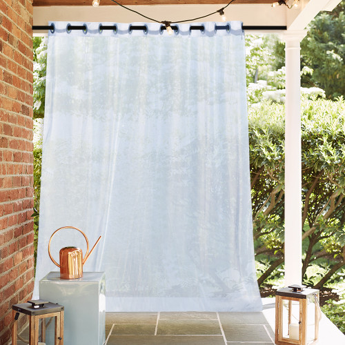 Extra Wide Sheer Outdoor Waterproof Curtain for Porch with Rope Tieback,Sold as 1 Panel