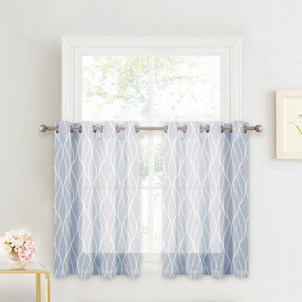 Kitchen Window Casual Style Decor Ogee Wave Translucent Voile Minimalist  for Dining Room Window,Sold as 1 Panel