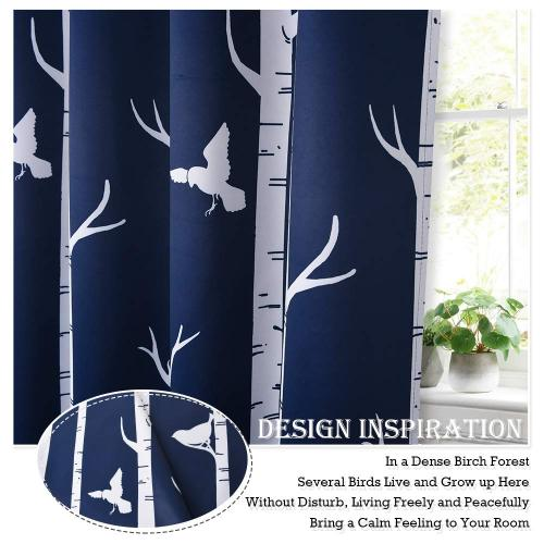 Contemporary Tree and Bird Printed Draperies for Cafe Tier Kitchen,Sold as 1 Panel