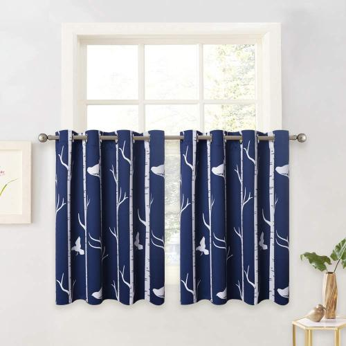 Custom Contemporary Tree and Bird Pattern Short Blackout Pattern Short Insulated Blackout Curtain by NICETOWN ( 1 Panel )
