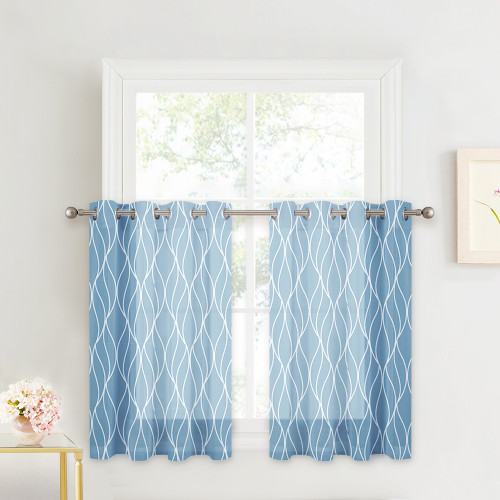 Ogee Wave Voile Minimalist Semi Sheer Tier Curtain(1 Panel)