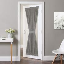 Custom Linen Textured Door Curtain Sidelight Panel Curtain Semi Sheer French Door Curtain for Front Door with Tieback by NICETOWN ( 1 Panel )