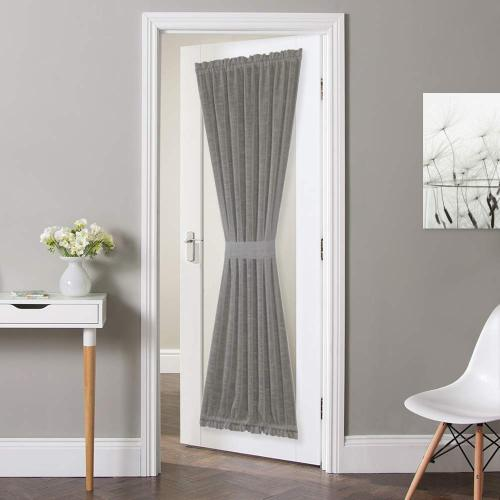 Custom Linen Textured Door Curtain Sidelight Panel Curtain Semi Sheer French Door Curtain for Front Door with Tieback by NICETOWN ( 1 Panel )