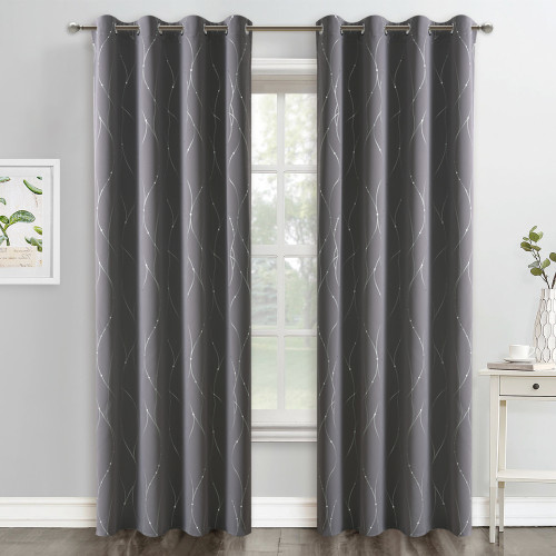 NICETOWN Foil Striped Printed Pattern Blackout Curtain (1 Panel)