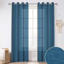 Custom Bohemia Striped Printed Voile Semi Sheer Curtain for Living Room by NICETOWN ( 1 Panel )