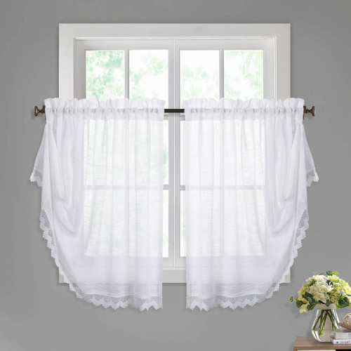 Faux Linen Sheer Valance - Innovative Magic Button to Make Rectangular or Waterfall Balloon Shape Multifunctional Curtain for Kitchen / Cafe, Sold as 1 Panel