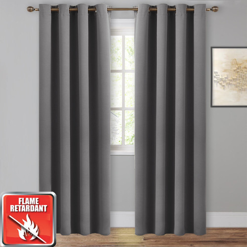 Solid Inherent Soundproof Flame Retardant Blackout Curtain - 1 Panel