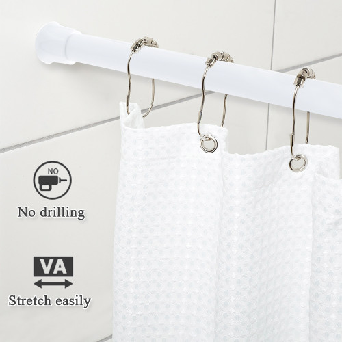 Cupboard Bars White Spring Tension Rods - Pack of 4, Shower Adjustable Closet Rod for French Door