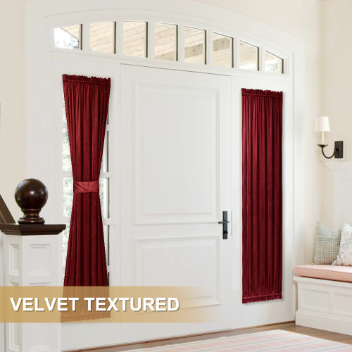 HILLEBO Velvet Door Curtain for French Door (1 Panel)