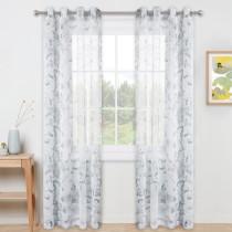 Custom Vintage Flower Pattern Printed Voile Semi Sheer Curtain for Living Room by NICETOWN ( 1 Panel )