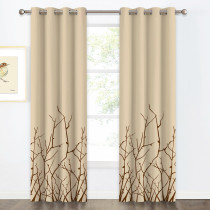 Printed Curtain - Blackout Blinds with Tree Branch Stretching Pattern