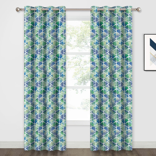 Custom Geometry Triangle Pattern Blackout Pattern Thick Thermal Insulated Blackout Curtain by NICETOWN ( 1 Panel )