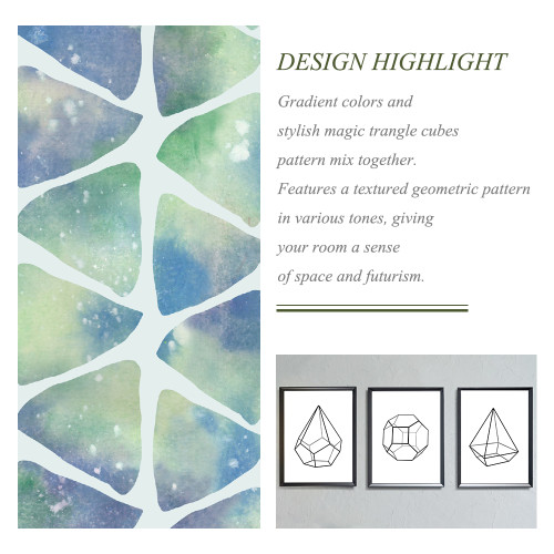 NICETOWN Geometry Triangle Pattern Printed Blackout Curtain Drape (1 Panel)