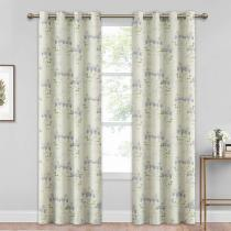 Floral Print Curtain Panel - True Blackout Curtain Natural Patterned Window Treatment for Dining Room, Sold as 1 Panel