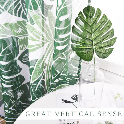 Custom Banana Green Leaf Pattern Printed Voile Semi Sheer Curtain for Living Room by NICETOWN ( 1 Panel )