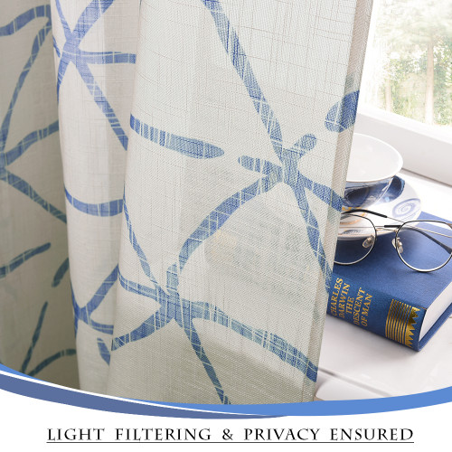 Linen Texture Wave Fabric Light Glare Filter Blackout Curtain (1 Panel)