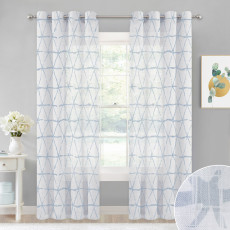 Semi-Transparent Light Airy Privacy Protect Voile Drapes Textured Sheer Curtain, Sold as 1 Panel