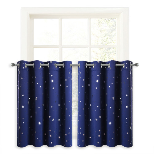 Kitchen Window Curtain - Small Half Window Short Valance Tiers with Twinkle Star, Privacy Drapes for Bathroom Kitchen Cafe Boys Room ,Sold as 1 Panel