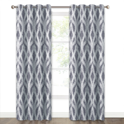 Room Darkening Window Curtain for Kitchen Patio Door, Morden & Dynamic Sound Wave Lines Pattern, Washable Curtain Panels for Houseroom/Craft Room,Sold as 1 Panel