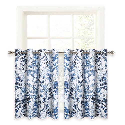 Watercolor Leaves Printed Room Darkening Thermal Thick Kitchen Bathroom Living Room Bedroom Valance ,Sold as 1 Panel
