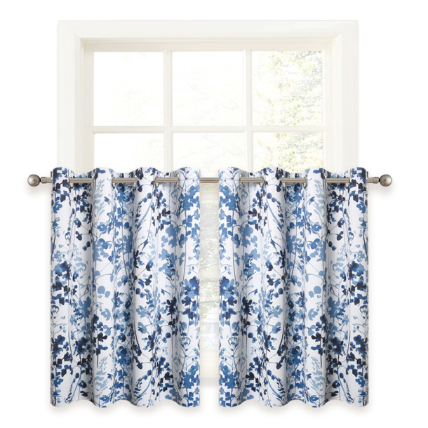 Watercolor Leaves Pattern Printed Tier Curtain(1 Panel)